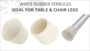 WHITE RUBBER FERRULES FOR TABLE AND CHAIR LEGS